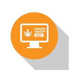 white computer monitor and medical marijuana or vector image