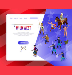 Wild west landing page american history vector