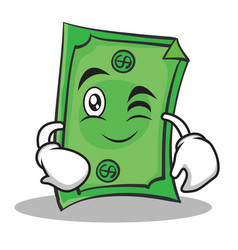 Wink face dollar character cartoon style vector