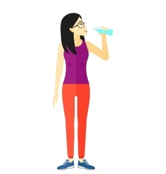 Woman drinking water vector image