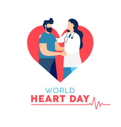 World heart day card of doctor and patient vector