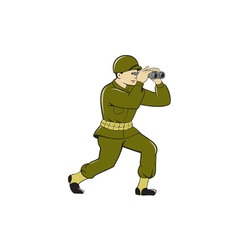 World War Two American Soldier Binoculars Cartoon vector image