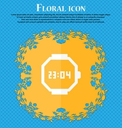 Wristwatch icon Floral flat design on a blue vector