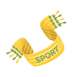 yellow soccer fan scarf fans single icon in vector image