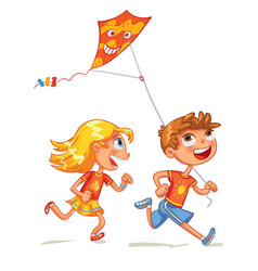 children flying a kite funny cartoon character vector image