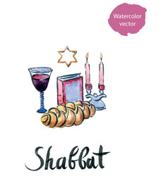 complete shabbat table vector image