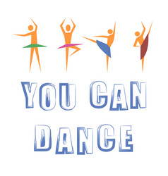 dance banner with dancers icons vector image vector image