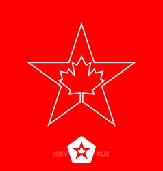minimal monochrome vintage star with Canadian vector image vector image