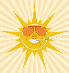 sun and cigarette vector image vector image