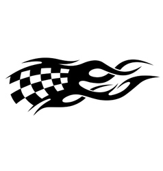 Black and white checkered flag in motion vector image vector image