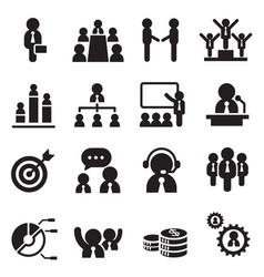 business team management icons set vector image vector image