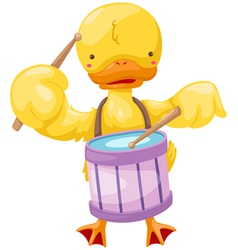 circus duck play drum vector image vector image