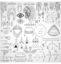 Collection of tribal doodle design elements frames vector image vector image