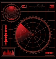digital radar screen with globe vector image vector image