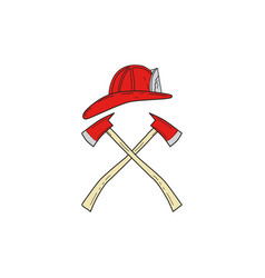 fireman helmet crossed fire axe drawing vector image
