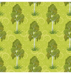 Seamless birch trees and floral pattern vector image vector image