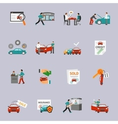 Car dealership icon set vector