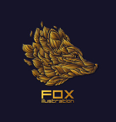 fox or wolf design icon logo luxury gold vector image