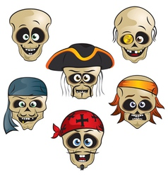 funny pirate skull vector image vector image