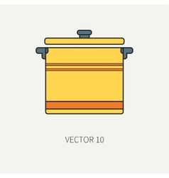 Line flat color kitchenware icons - pan vector image vector image