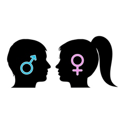 Male and female icons in silhouettes vector image vector image