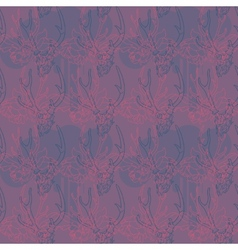 Pattern with flowers and a deer skull vector image
