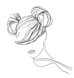 Sketch of the young woman vector image vector image