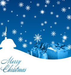 blue christmas background with gift boxes vector image vector image