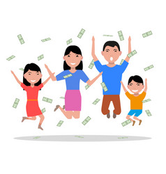 cartoon happy family falling on top money vector image