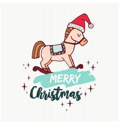christmas rocking horse toy holiday cartoon card vector image
