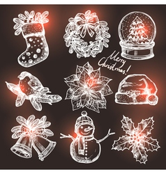 Collection Of Christmas Sketchs vector image vector image