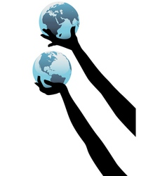 earth people hands vector image vector image