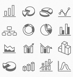 Graph outline stroke symbol icons vector image