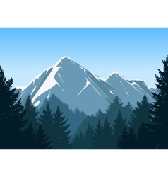 Mountains with pine forest background vector image