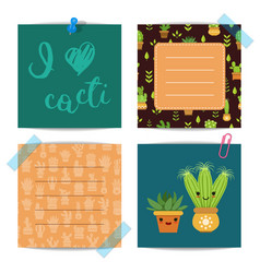 notes set with lettering and cacti elements vector image