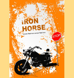 Orange gray background with motorcycle image vector