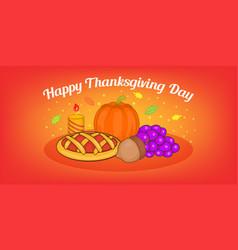thanksgiving pie horizontal banner cartoon style vector image