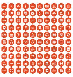 100 headphones icons hexagon orange vector