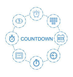 8 countdown icons vector image