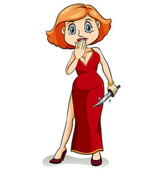 A lady wearing a dress to kill vector image