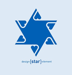 Abstract design element blue David star with vector image