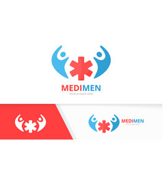 Ambulance and people logo combination vector