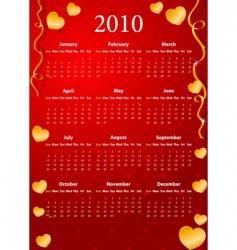 American calendar 2010 vector image