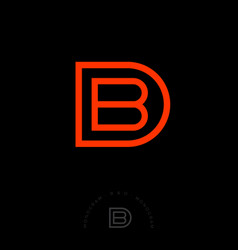 b and d combined letters linear style vector image