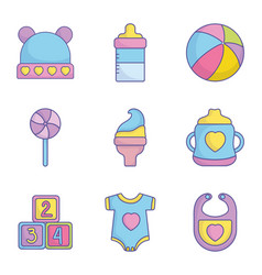 bashower clothes toys accessories icons vector image