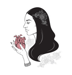 beautiful brunette with heart in her hands vector image