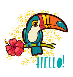bird toucan tropical hibiscus flower in cartoon vector image