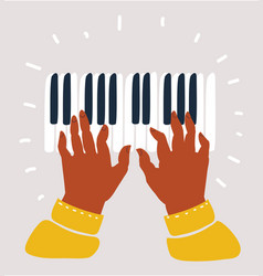 black musicians hands playing on piano keys vector image