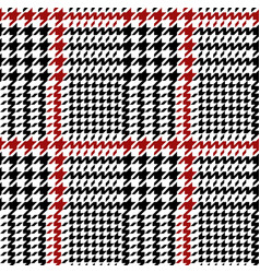 black red hounds tooth seamless pattern vector image