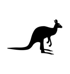 black silhouette a kangaroo figure with shadow vector image
